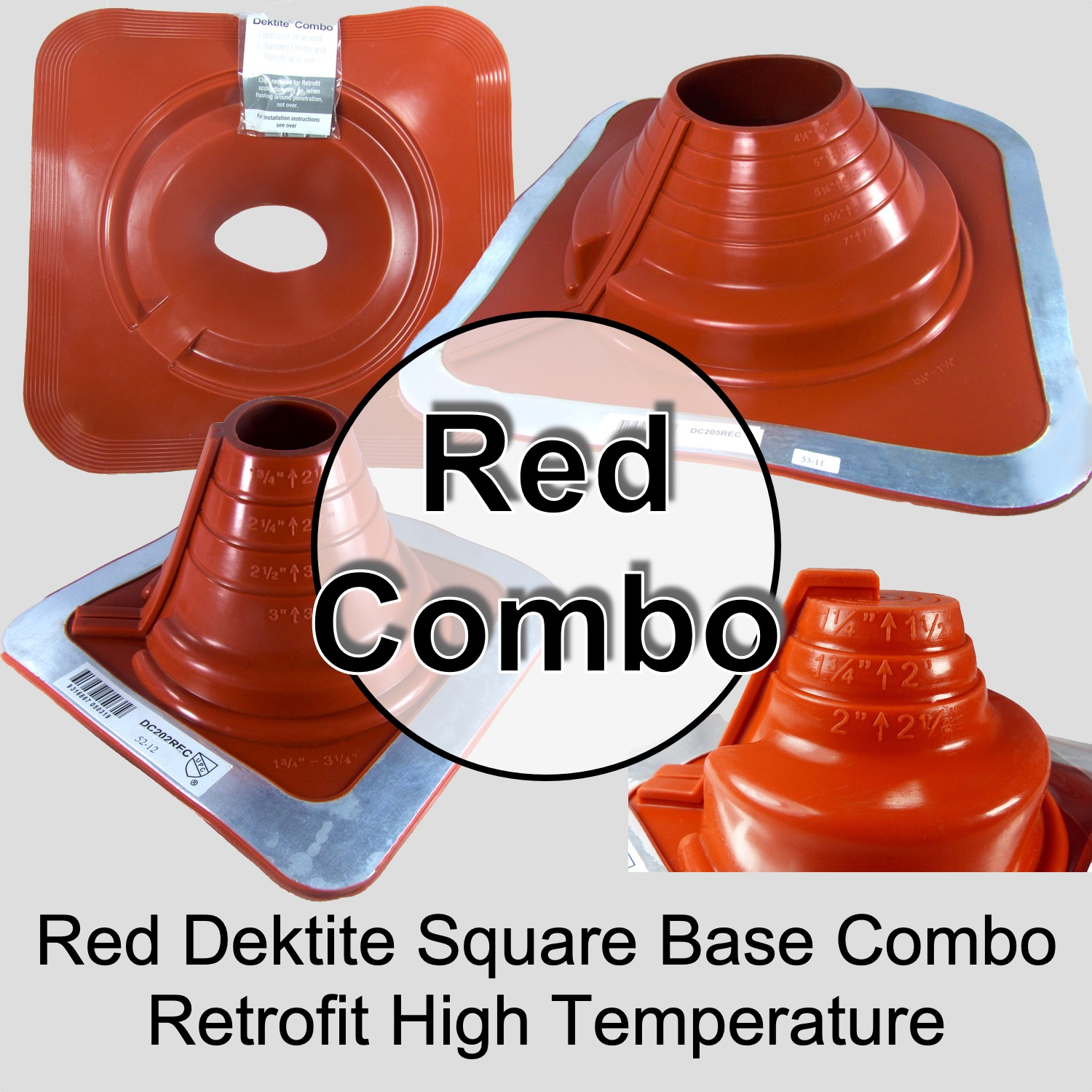 Metal Roof (Square) RetroFit  High Temperature Silicone Chimney, Stove Pipe Flashing