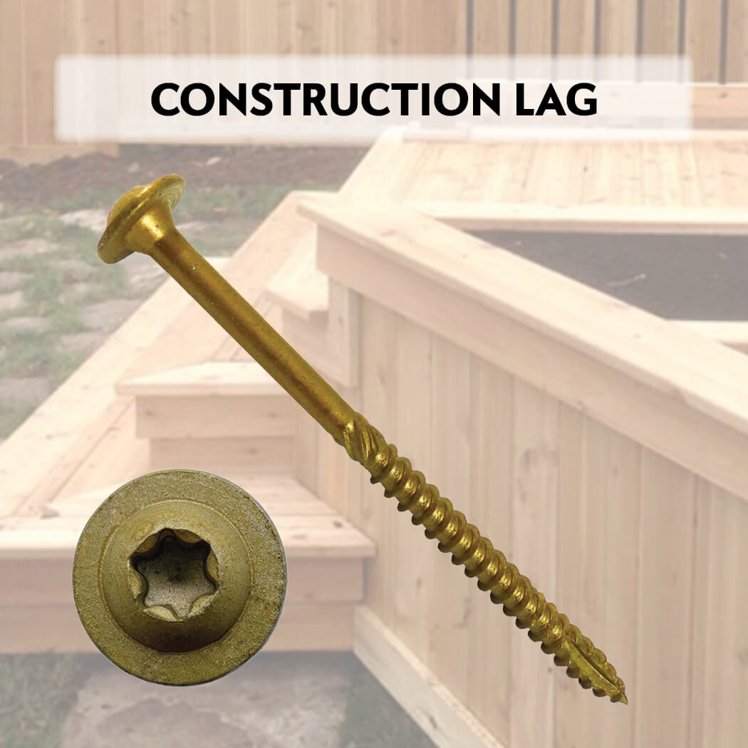 Construction Lag Exterior Coated Wood Screws