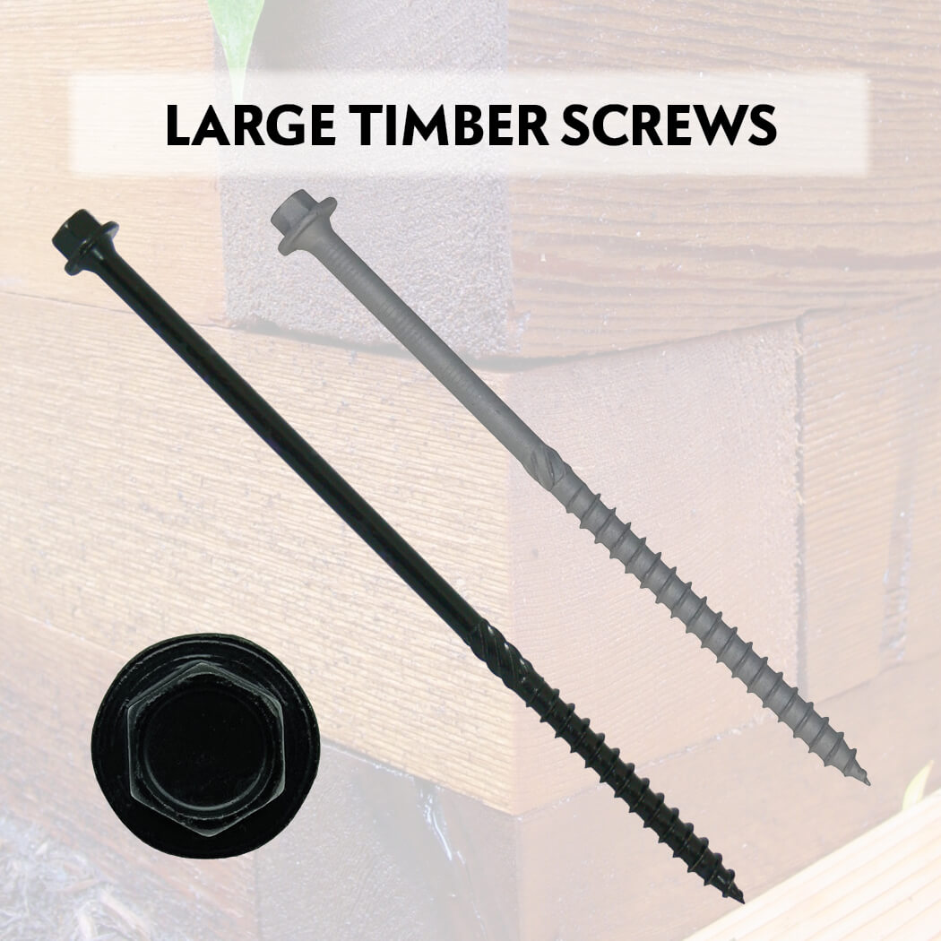 Black Log Timber Screws  -  Structural Ledger Board Wood Screws