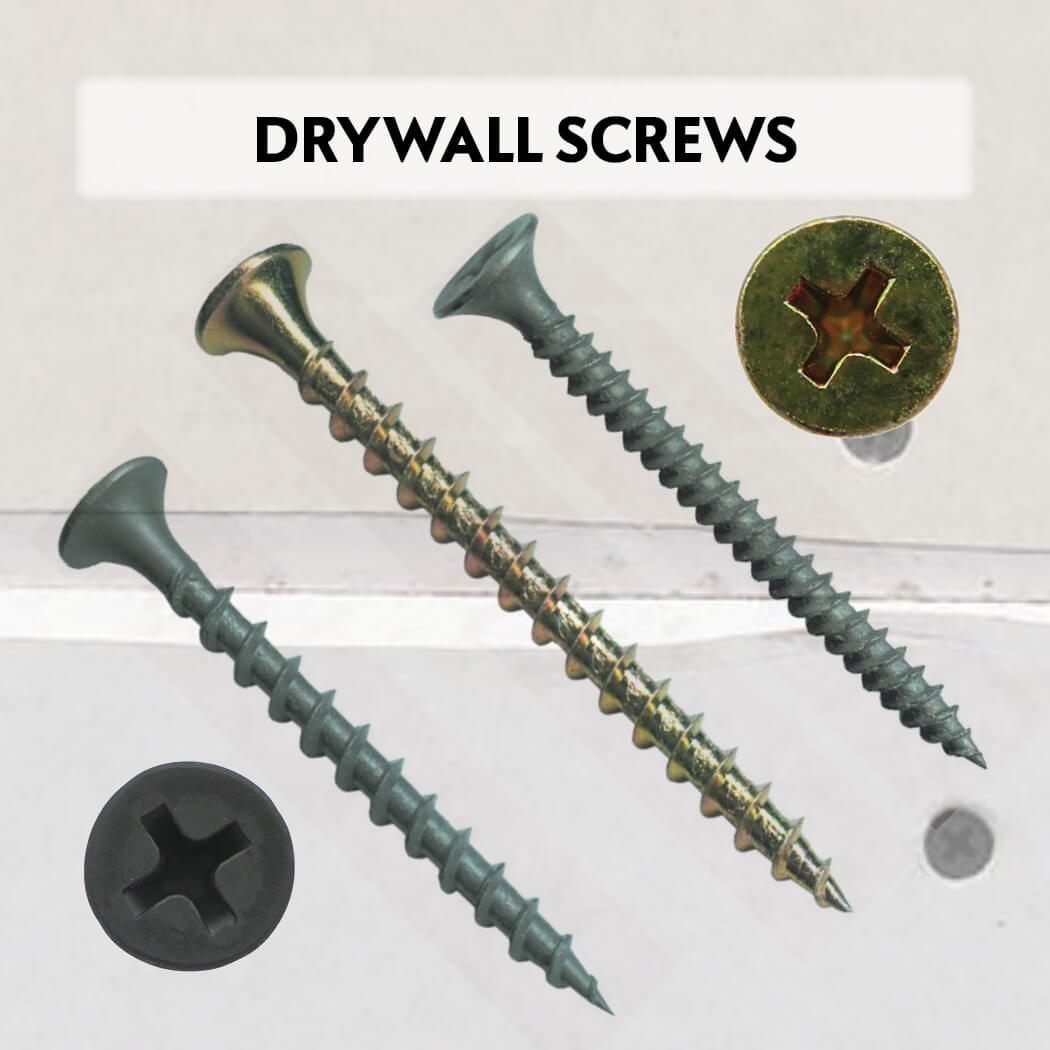 Drywall Screws - Coarse/Fine, Gray/Black, Yellow Zinc
