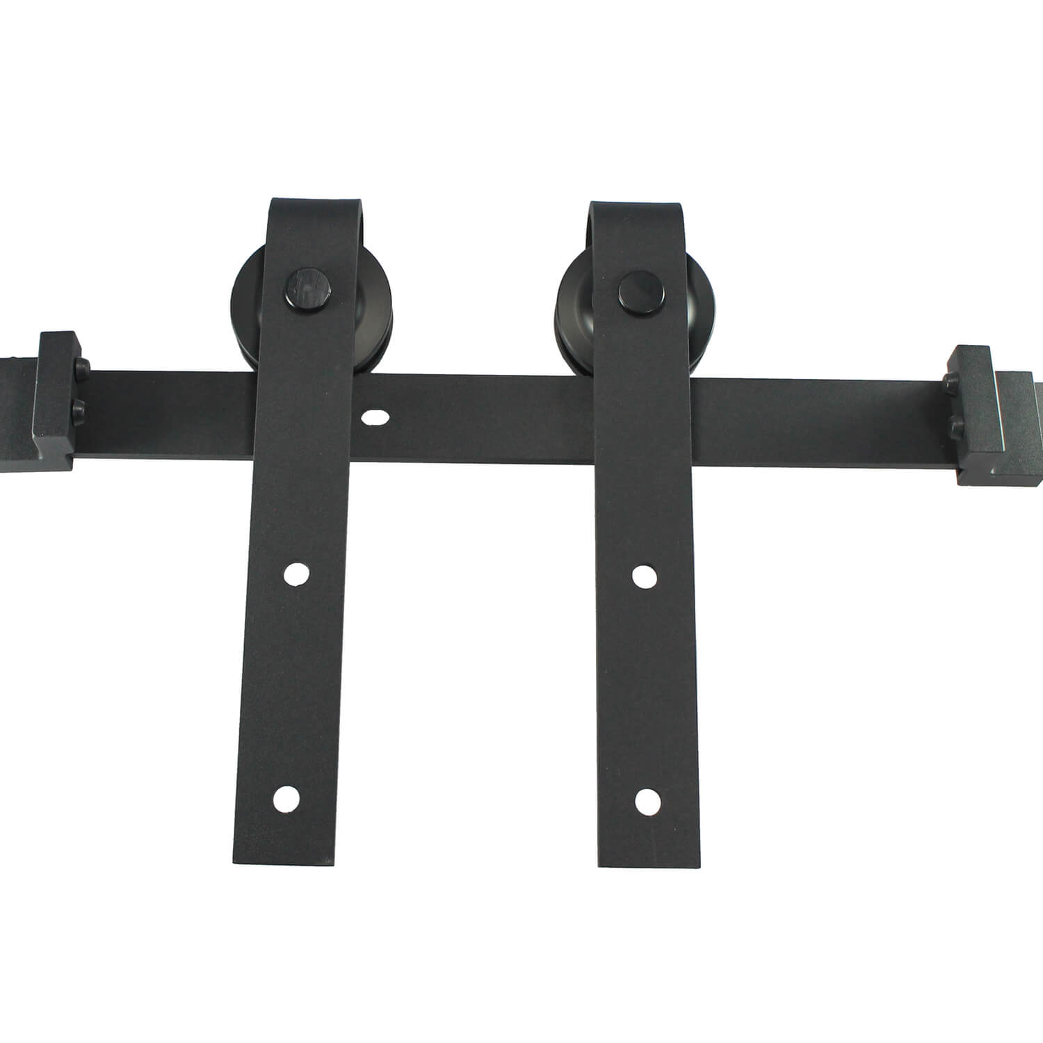 Black - Sliding Barn Door Hardware Kit - Contemporary Style. Kit comes with all the necessary hardware to mount