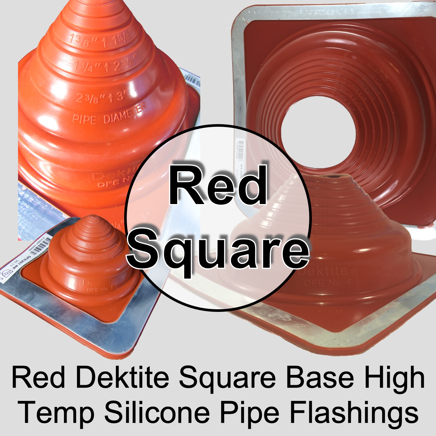 Metal Roof (Square) High Temperature Silicone Chimney, Stove Pipe Flashing