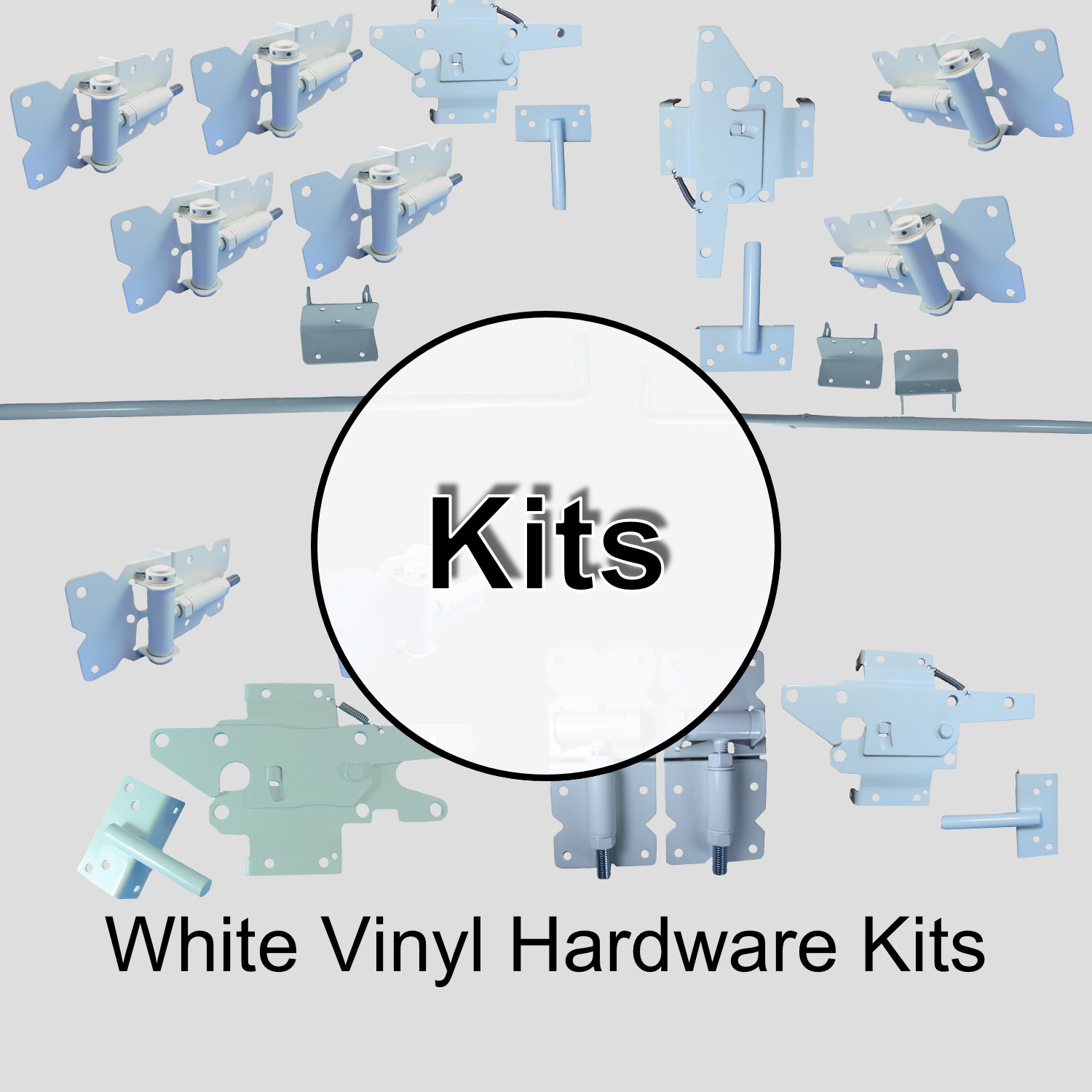 White Vinyl Gate Hardware Kits