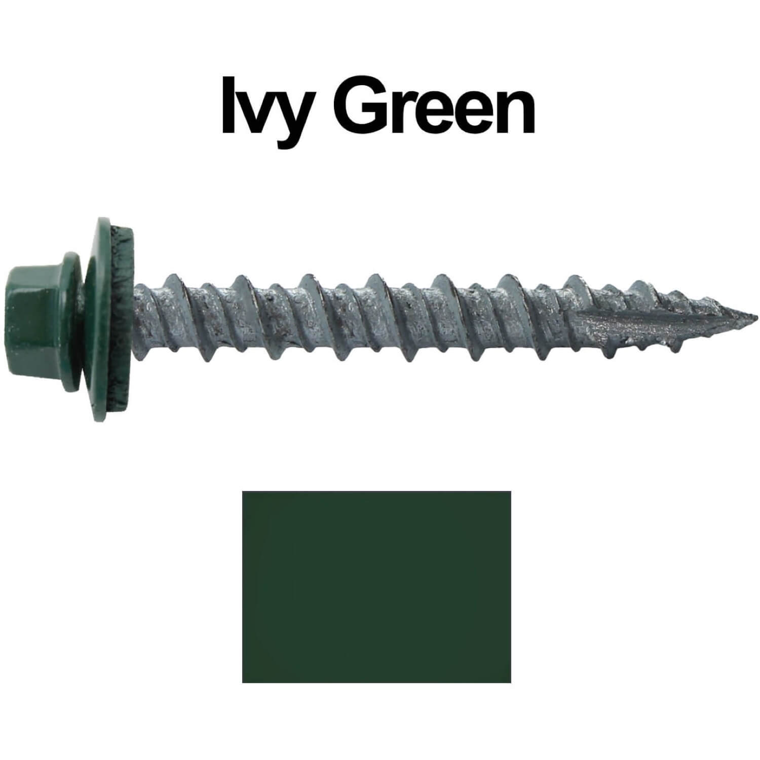 Metal Roofing Screws 250 10 X 1 1 2 Forest Ivy Green Hex Head Sheet Metal Roof Screw Self Starting Metal To Wood Siding Screws Epdm