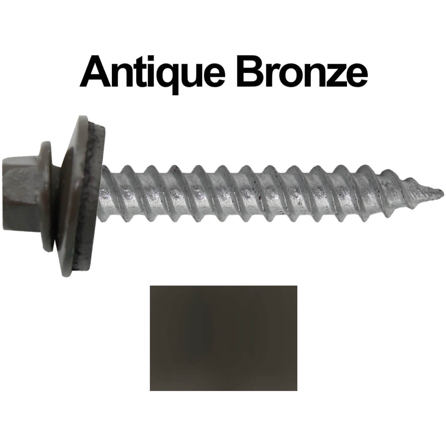 Metal Roofing Screw 250 12 X 1 1 2 Antique Bronze Hex Regrip Sheet Metal Roof Screw Sharp Point Metal To Wood Siding Screws 5 8 Epd