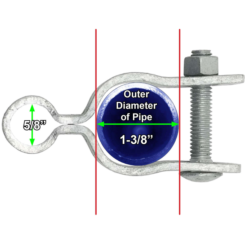 1-3//8 Chain Link Fence Gate Frame Hinge Nut//Bolt Included for Hinge Galvanized Chain Link Post Gate Frame Hinge Use for 1-3//8 Outside Diameter Post//Pipe