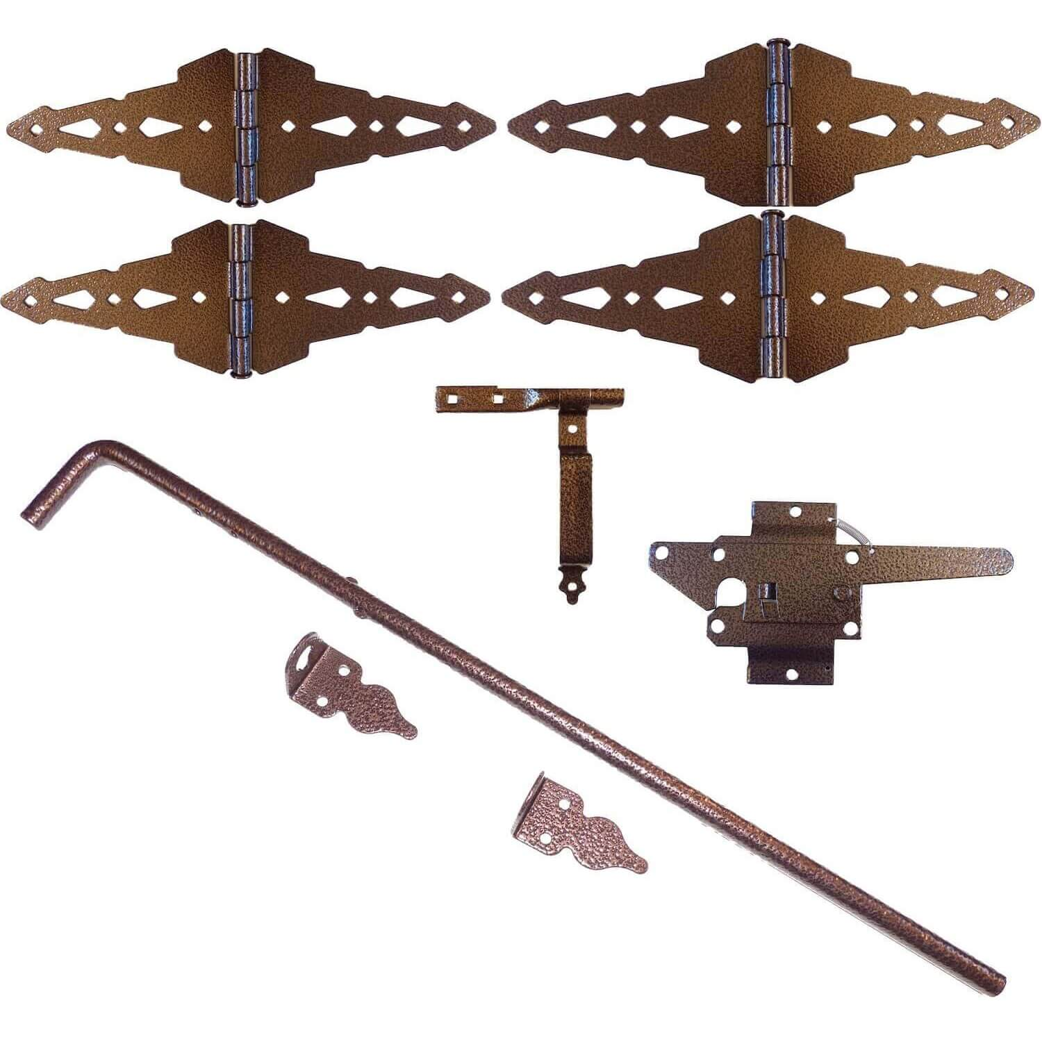 Bronze Finish Wood Fence Double Gate Kit (Wood Gate Hinges, Latch, Drop Rod) - , 8