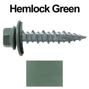 "10X1"" Metal Roofing Screws (HEMLOCK GREEN)"