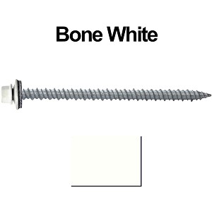 "10x3"" Metal Roofing Screws (BONE WHITE)"
