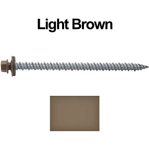 "10x3"" Metal Roofing Screws (LIGHT BROWN)"