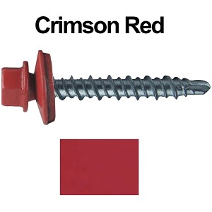 "10X1-1/2"" Metal Roofing Screws (CRIMSON RED) Mini Driller"