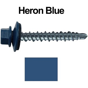 "10X1-1/2"" Metal Roofing Screws (HERON BLUE) Mini Driller"