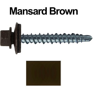 "10X1-1/2"" Metal Roofing Screws (MANSARD BROWN) Mini Driller"
