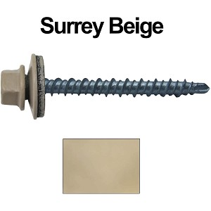 "10X2"" Metal Roofing Screws (SURREY BEIGE) Mini Driller"