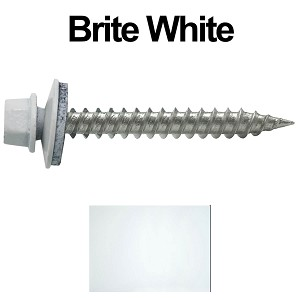 "9 x 1-1/2"" Stainless Steel Metal Roofing Screws (BRITE WHITE)"