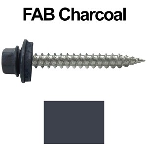 "9 x 1-1/2"" Stainless Steel Metal Roofing Screws (FAB. CHARCOAL)"