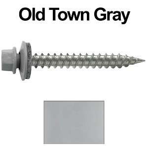 "9 x 1-1/2"" Stainless Steel Metal Roofing Screws (OLD TOWN GRAY)"