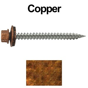 "9 x 2"" Stainless Steel Metal Roofing Screws (COPPER)"