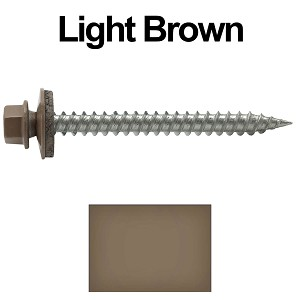 "9 x 2"" Stainless Steel Metal Roofing Screws (LIGHT BROWN)"