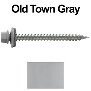 "9 x 2"" Stainless Steel Metal Roofing Screws (OLD TOWN GRAY)"