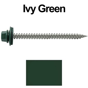 "9 x 2-1/2"" Stainless Steel Metal Roofing Screws (IVY GREEN)"
