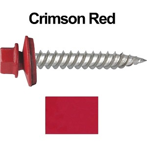 "12 x 1-1/2"" Stainless Steel Metal Roofing Screws (CRIMSON RED)"