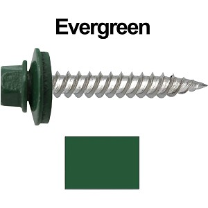 "12 x 1-1/2"" Stainless Steel Metal Roofing Screws (EVERGREEN)"