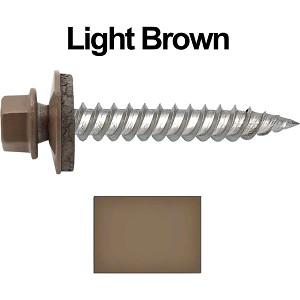 "12 x 1-1/2"" Stainless Steel Metal Roofing Screws (LIGHT BROWN)"