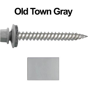 "12 x 2"" Stainless Steel Metal Roofing Screws (OLD TOWN GRAY)"
