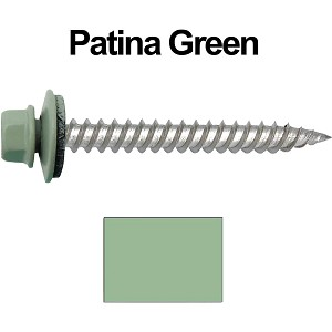 "12 x 2"" Stainless Steel Metal Roofing Screws (PATINA GREEN)"