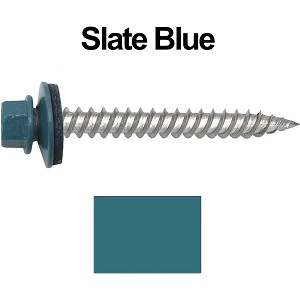 "12 x 2"" Stainless Steel Metal Roofing Screws (SLATE BLUE)"